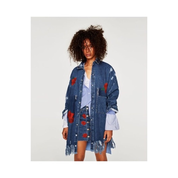 Zara Jackets Coats Denim Duster Coat With Embroidered Roses